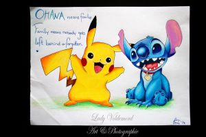 Pikachu and Stich by LadyVoldemord
