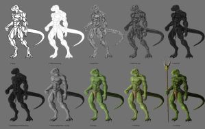 Agamid Drawing Process Ver. 1 by TargonRedDragon