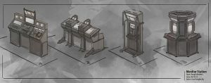 Concept Art: Monitor station by Lyno3ghe