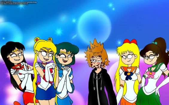 Roxas and the Sailor Moon Girls by RDJ1995