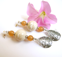 Wedding Peach - OOAK Earrings by LadyFlynn