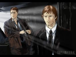 Sam and Dean Winchester color by semie