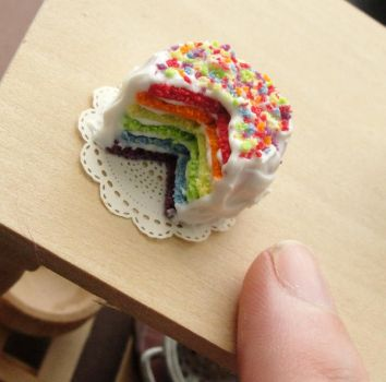 1:12 Scale Rainbow Cake by fairchildart