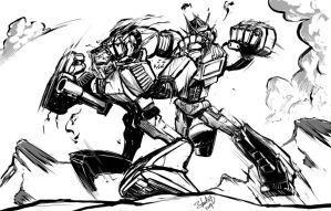 Optimus Prime vs Megatron by ryuzo