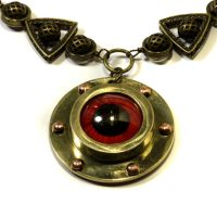 Steampunk Red eye Necklace by CatherinetteRings
