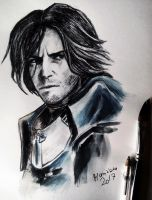 Corvo Attano - ballpointpen and watercolours by Musiriam