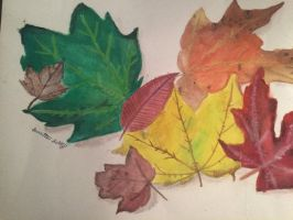Watercolor leaves by Cutiepuss98