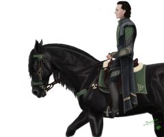 Loki riding Arvak by Boreale-88-107