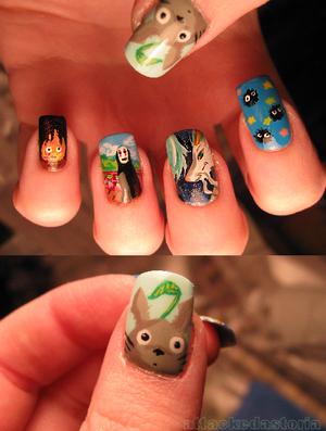 ghibli tribute nails by ~xtheungodx