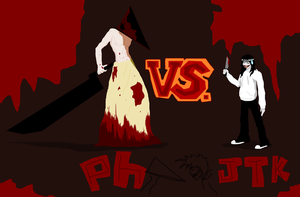 Pyramid head vs. Jeff the killer by Scarygermangirl