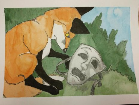 The fox and the mask.  by Waddle2u