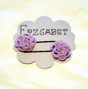 Lavender tatted rose hair pins on display card. by Erzsabet