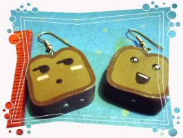 Polymer Clay Toast Earrings by Bloody-Lady-of-Csejt