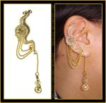 Steampunk Dangly Wheel ear cuff by Meowchee