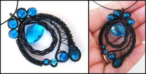 black and blue pendant by annie-jewelry