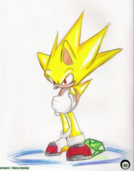 Super Sonic: Colored Pencils by GunGrave89