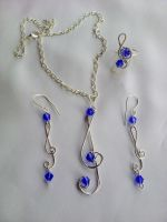 Violin silver cobalt-colored beads by Mirtus63
