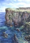 -Postcrossing: The Cliffs of Tory 2- by RiEile