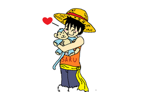 Luffy and his Plush Monkey by XfangheartX