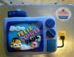 The Simpsons TV Cake by PnJLover