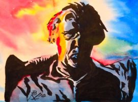 Ink and Watercolor Self Portrait by NausetSouth