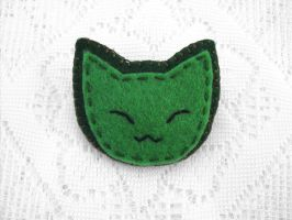 Green cat button by PeachPodHandmade