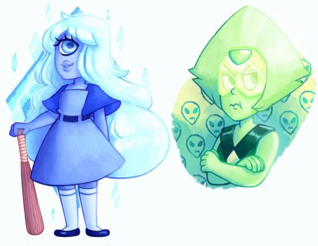 Peridot and Sapphire -Updated- by BlitzingBullet