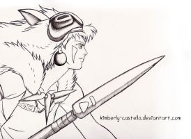 Princess Mononoke Line-art by kimberly-castello