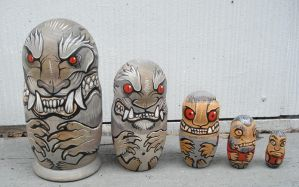 Werewolf nesting dolls by missmonster