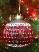 Christmas Ornament - Gray with Red by PurlyZig