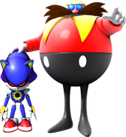 Doctor Robotnik and Metal Sonic by itsHelias94