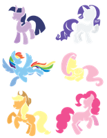 Simple Vectors of the Mane Six by white-tigress-12158