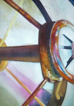 Watercolor painting! rusty wagon wheel. by TTPRINCE