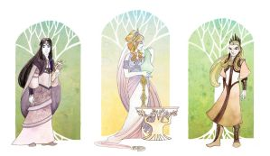 Three Elven Rulers of Middle Earth by dancingheron
