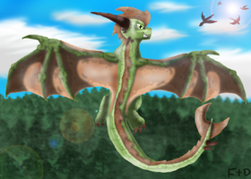 Flight of the Earth Dragon by SuperSonicFireDragon