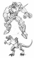 TF BW Dinobot by Dan-the-artguy