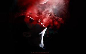 Red Full Moon Dreams by AnnGeea