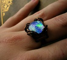 Blue Opal Dream Drop Bronze Ring Size 6.5 - 7 by LadyPirotessa