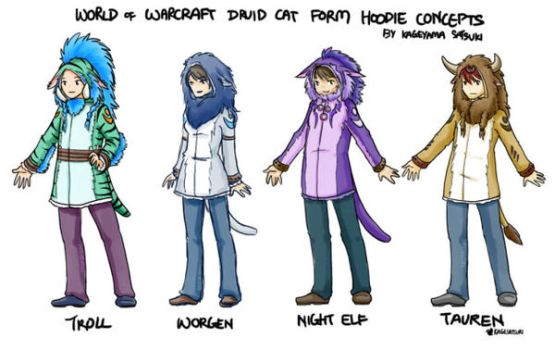 World of Warcraft Druid Cat Form Hoodie Concepts by kagesatsuki