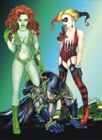 harley quinn-poison ivy-batman by SylviaDraw