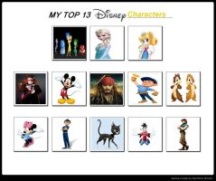My Top 13 Disney Characters by Toongirl18
