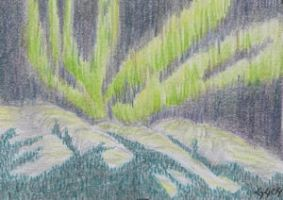 Northern Lights - Grey Mount. by Jazzmanian