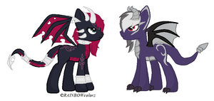 Cynder and Dark Spyro Ponies OTA [CLOSED] by CuppieCakeAdopts