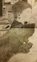 a boy and his dog praying by Paige-Gale9507