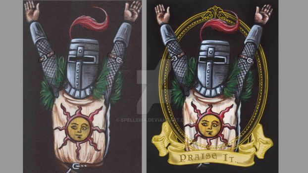 Solaire of Astora Before and After by spelleria