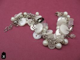 White Button Beaded Bracelet by TheFuzzyPineapple