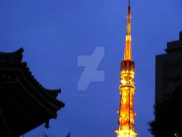 Tokyo Tower and Temple by theblindalley