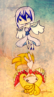 Lugia and Ho-Oh by queenofgrapes
