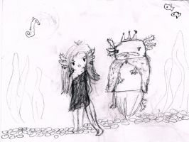axolotl princess and king by zendevil