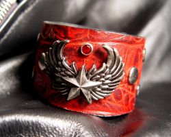 Winged Star Leather Cuff by StorytellerZero